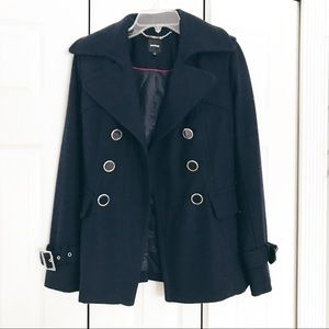 Express Double Breasted Navy Peacoat | XS